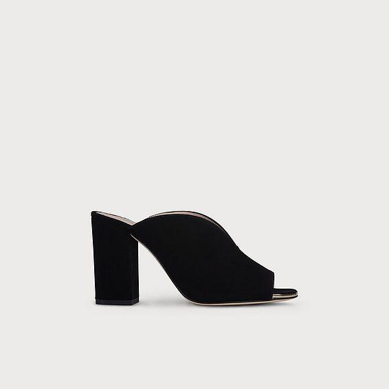 Carmela Black Suede Block Heel Mules