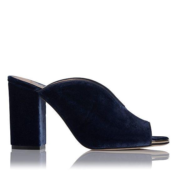 Carmela Blue Velvet Block Heel Mules
