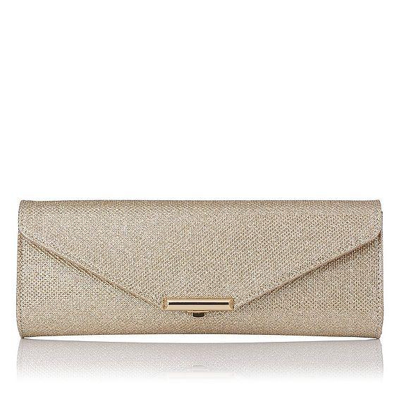 Cecilia Champagne Lurex Fabric Clutch