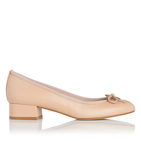 Danielle Natural Leather Block Heel Courts