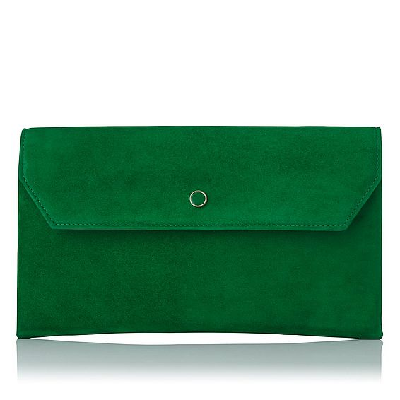 Dora Green Suede Clutch