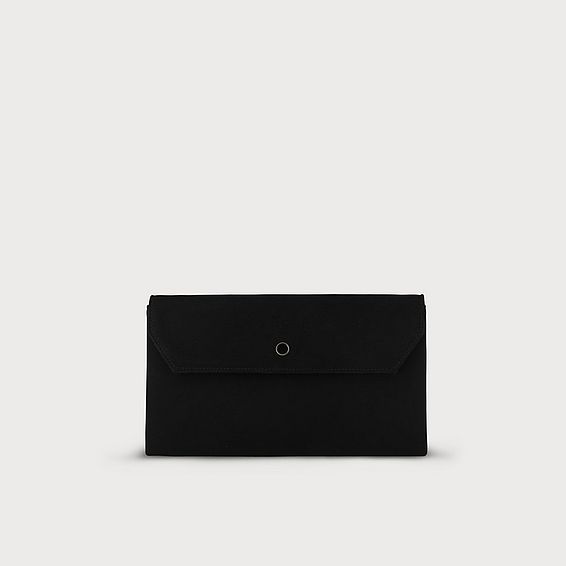 Dora Black Suede Envelope Clutch