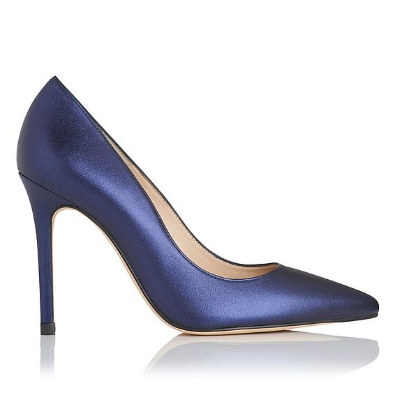 Fern Navy Metallic Leather Courts
