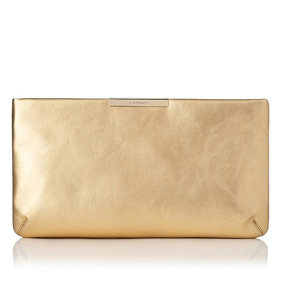 Flora Soft Gold Metallic Leather Clutch