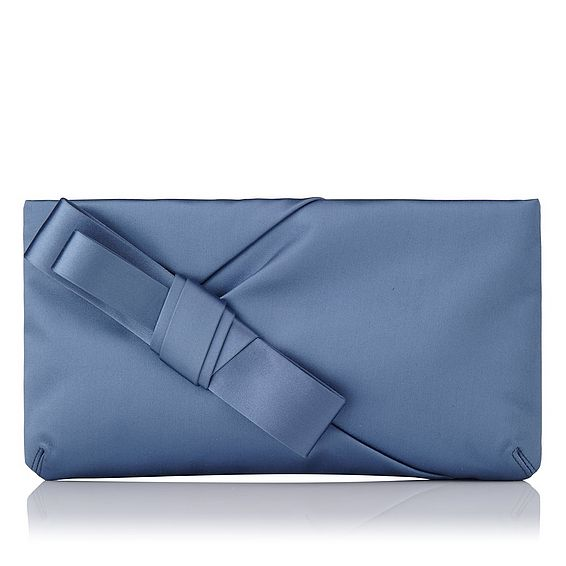 Frances Blue Satin Clutch