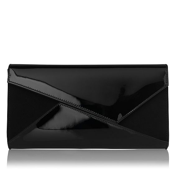 Lindy Black Suede Patent Clutch
