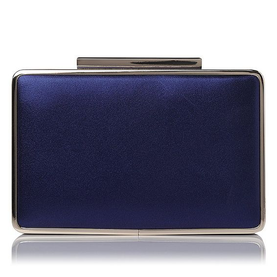 Nina Navy Metallic Leather Clutch