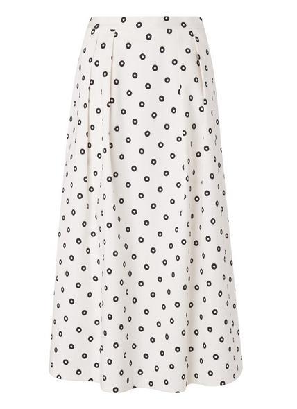 Octavia White Spot Print Skirt
