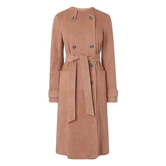Ria Blush Leather Coat