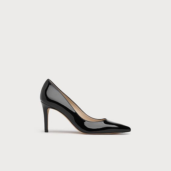 Floret Black Patent Leather Point Toe Court