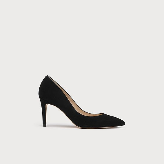 Floret Black Suede Pointed Toe Courts