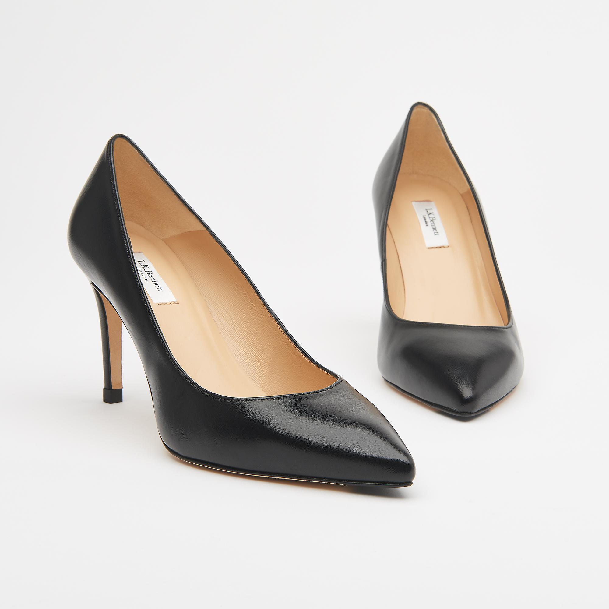 80709874697 Floret Black Leather Pointed Toe Courts | Shoes | L.K.Bennett
