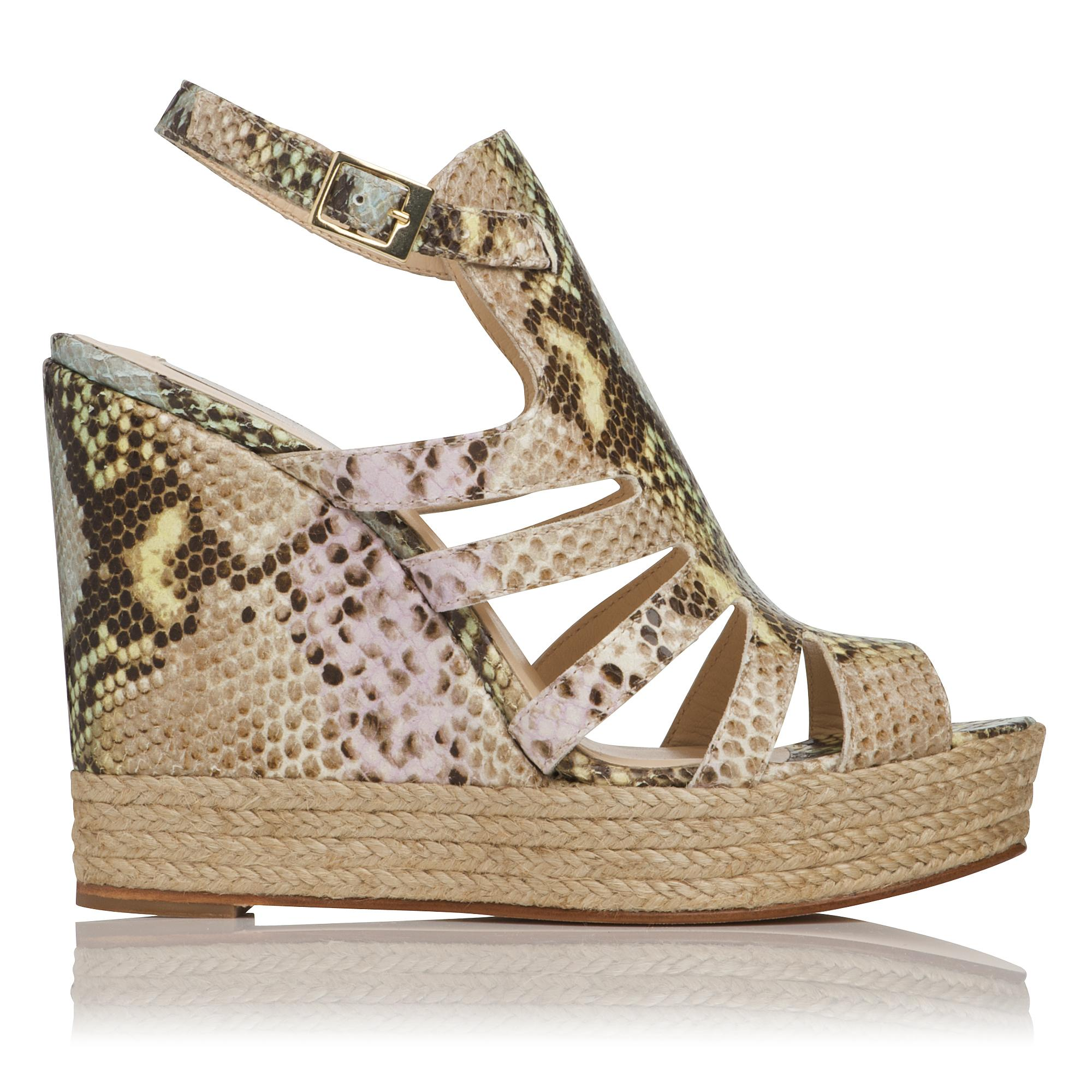 7efe5a17152c Hawaii Printed Leather Gladiator Wedge