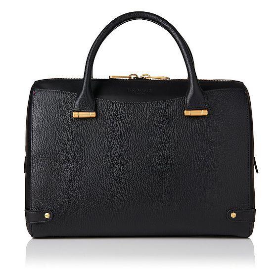 Rosamund Black Grained Leather Tote Bag