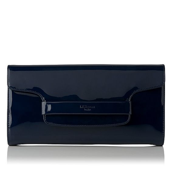 Laura Navy Patent Clutch Bag