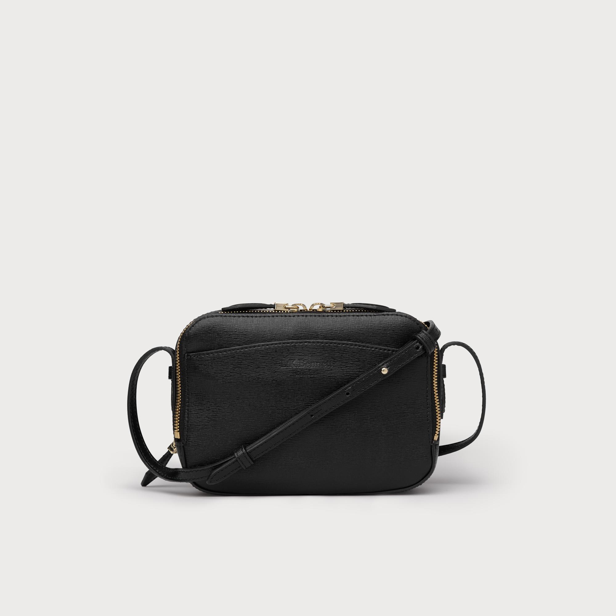 Mariel Black Leather Crossbody Bag