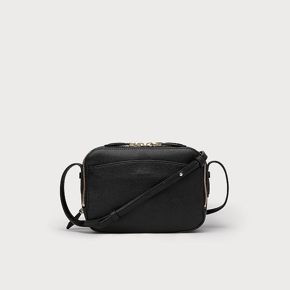Mariel Black Saffiano Crossbody Bag