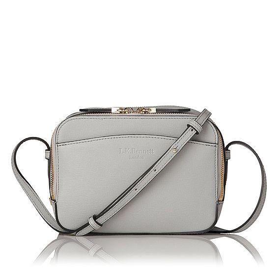 Mariel Grey Saffiano Crossbody Bag