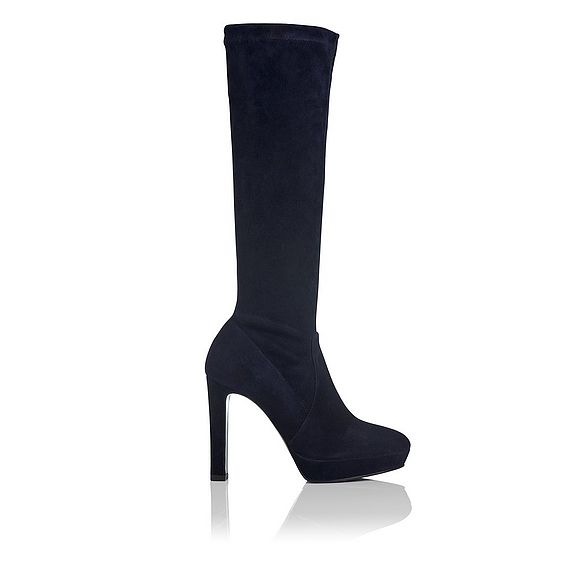 Ali Navy Stretch Suede Knee Boots