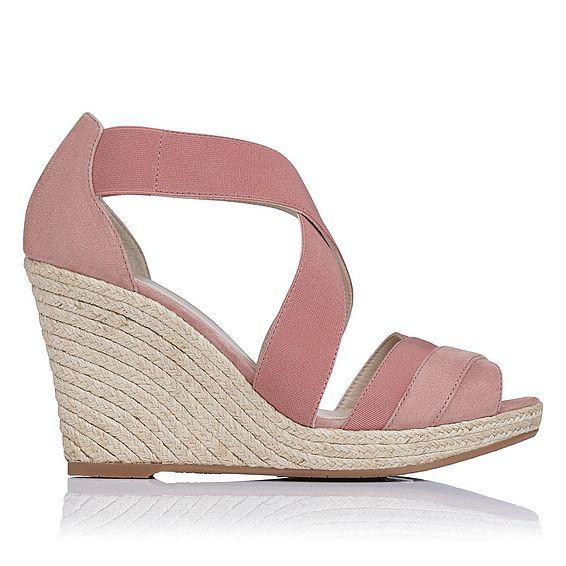 Alycia Pink Suede Espadrille Wedge Sandals