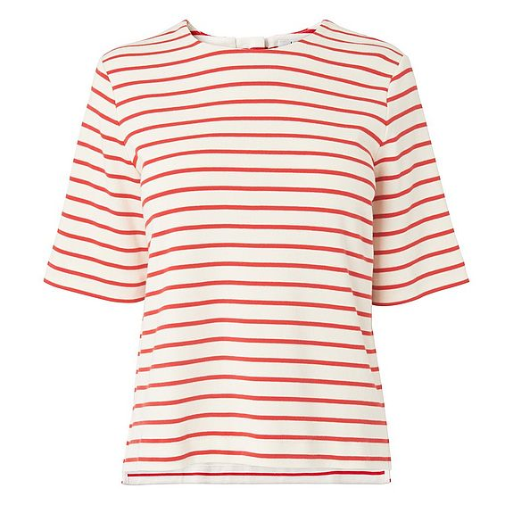 Ana Red Stripe Cotton Jersey Top