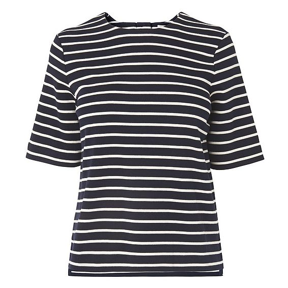 Ana Navy Stripe Cotton Jersey Top