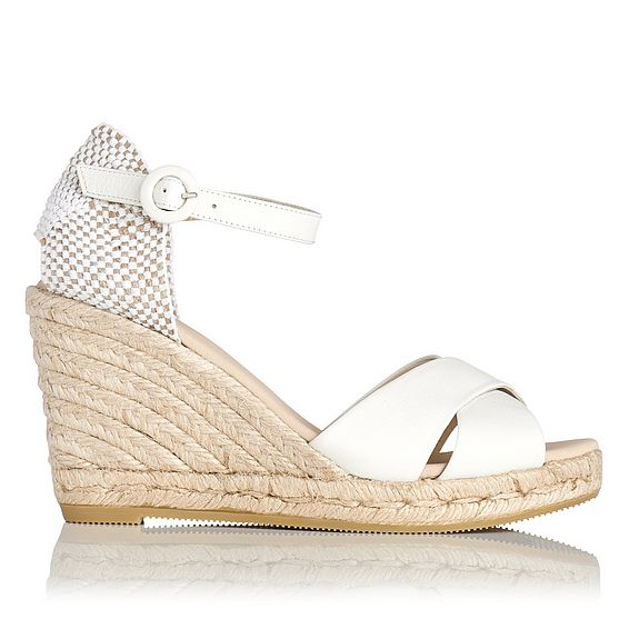 Angele Cream Leather Espadrille Wedge Sandals