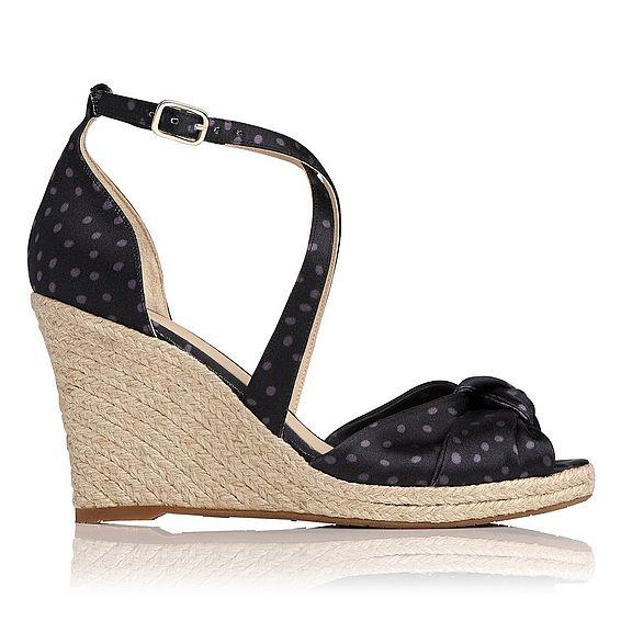 Angeline Navy Satin Print Sandals