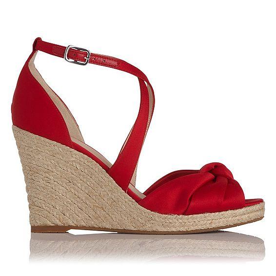 Angeline Red Satin Sandals