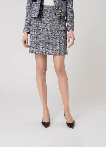 Astrala Sloane Blue Cream Cotton Mix Skirt