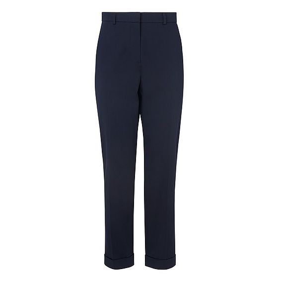 Aurelia Navy Cotton Mix Trousers