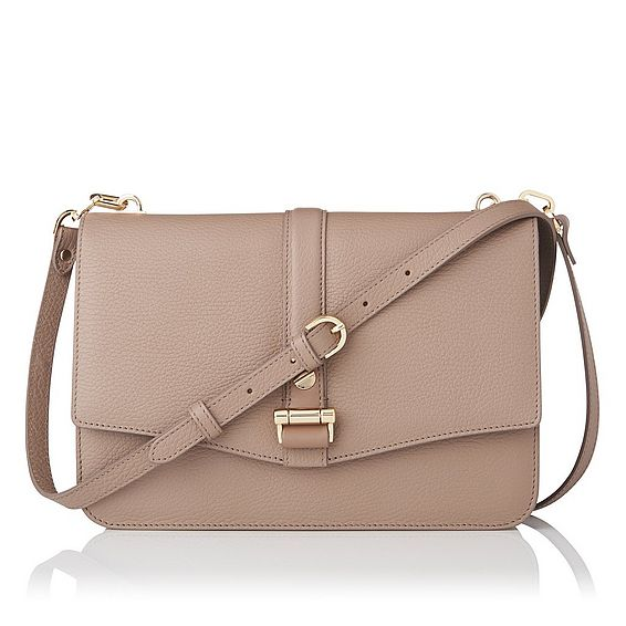 Belle Latte Grained Leather Shoulder
