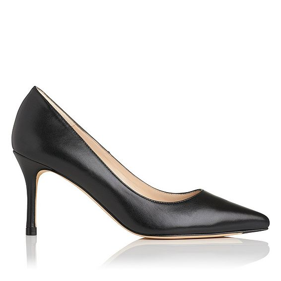 Bianca Black Leather Closed Courts