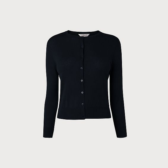 Bibi Navy Silk Cotton Cardigan
