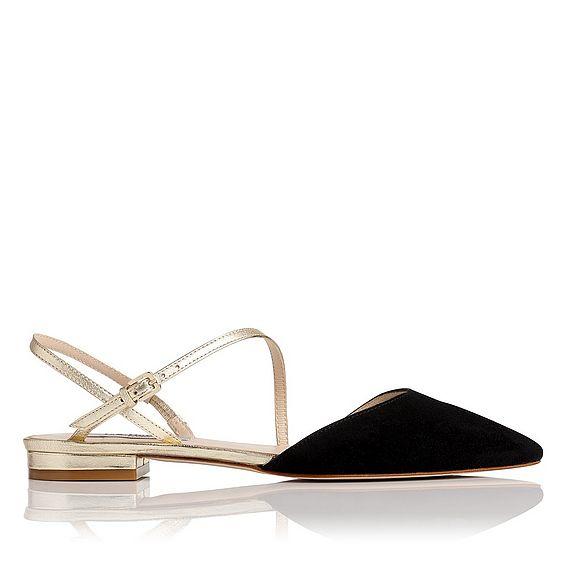 Cari Black Leather Flats