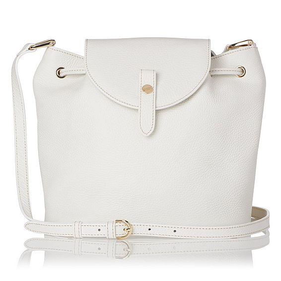 Carol White Grained Leather Shoulder Bag