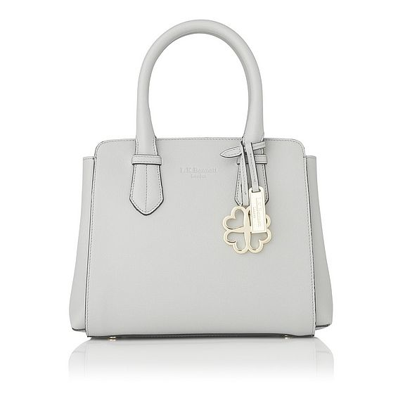 Cassandra Grey Saffiano Leather Tote