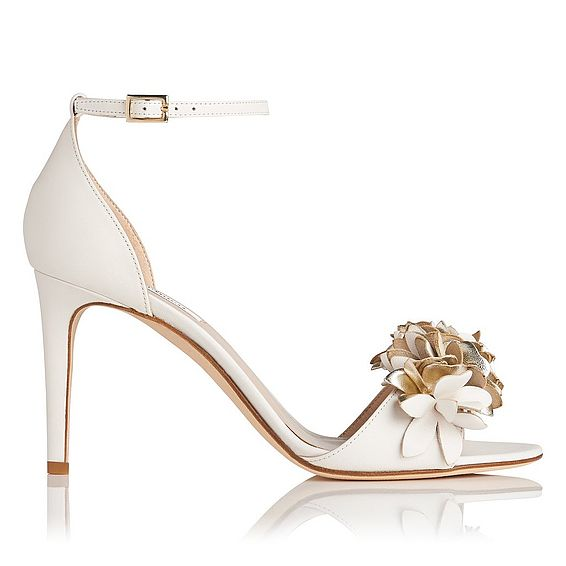 Claudie Cream Gold Leather Formal Sandals