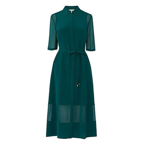 Coral Green Silk Dress