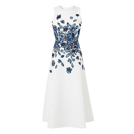 Corin Blue Embroidered Silk Dress