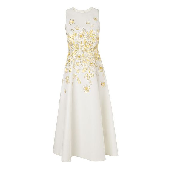Corin Yellow Embroidered Silk Dress