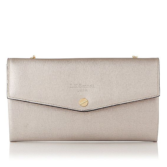 Dakoda Champagne Metallic Saffiano Le Shoulder
