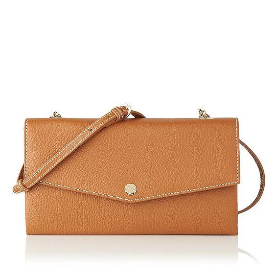 Dakoda Tan Grained Leather Shoulder Bag