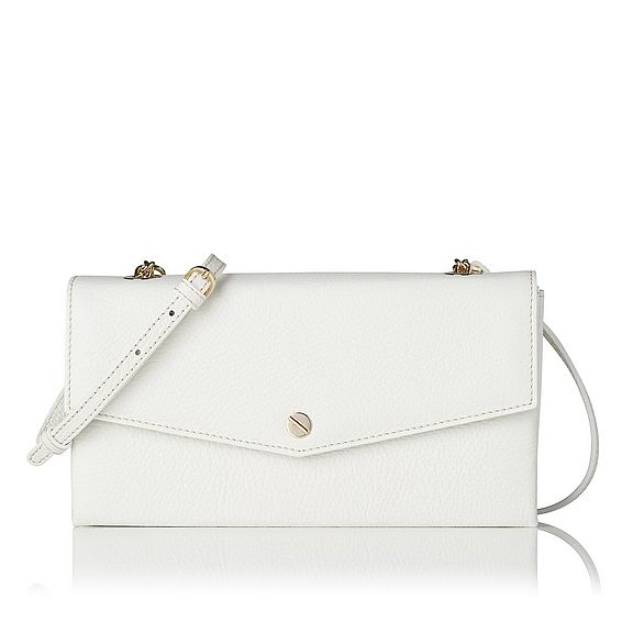 Dakoda White Grained Leather Shoulder