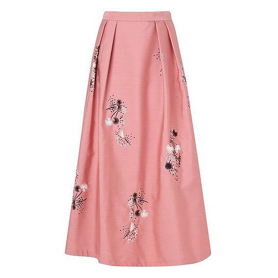 Delisa Pink Cotton Silk Skirt