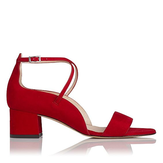 Dina Red Suede Formal Sandals