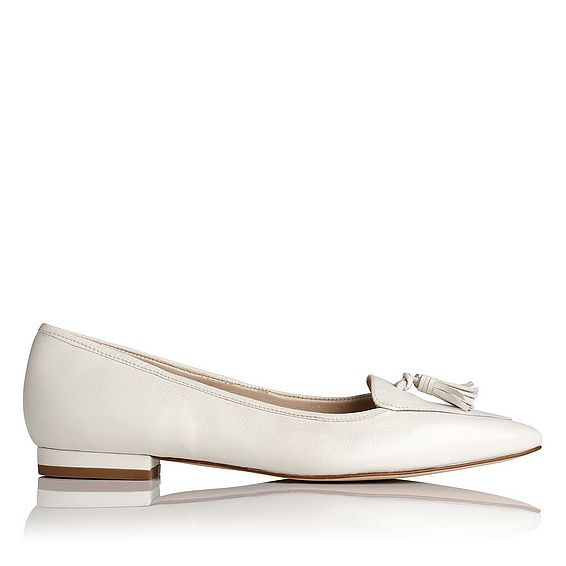 Dixie Cream Grained Leather Flats