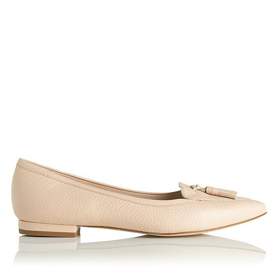 Dixie Pink Grained Leather Flats