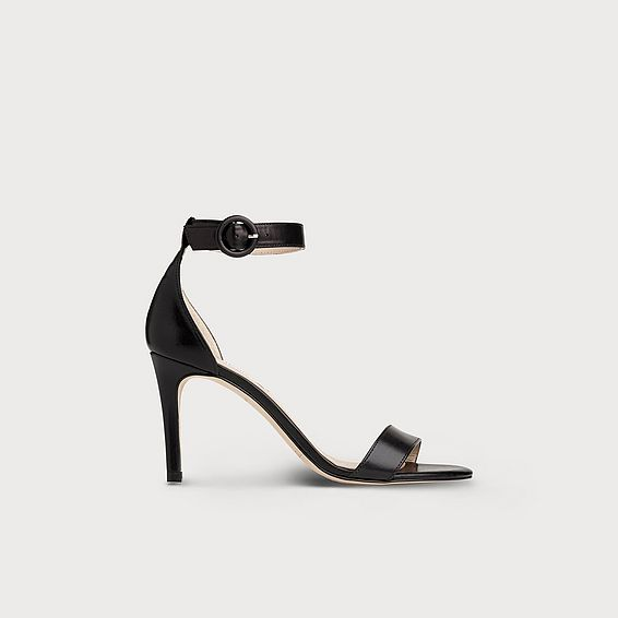 Dora Black Leather Formal Sandals