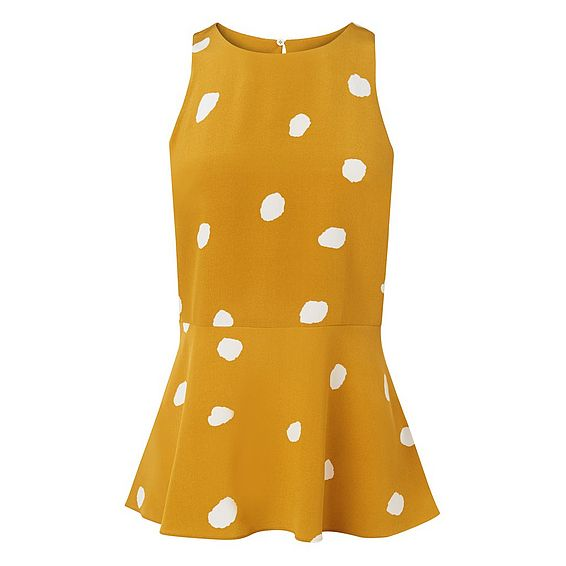 Ella Yellow Spot Print Silk Peplum Top
